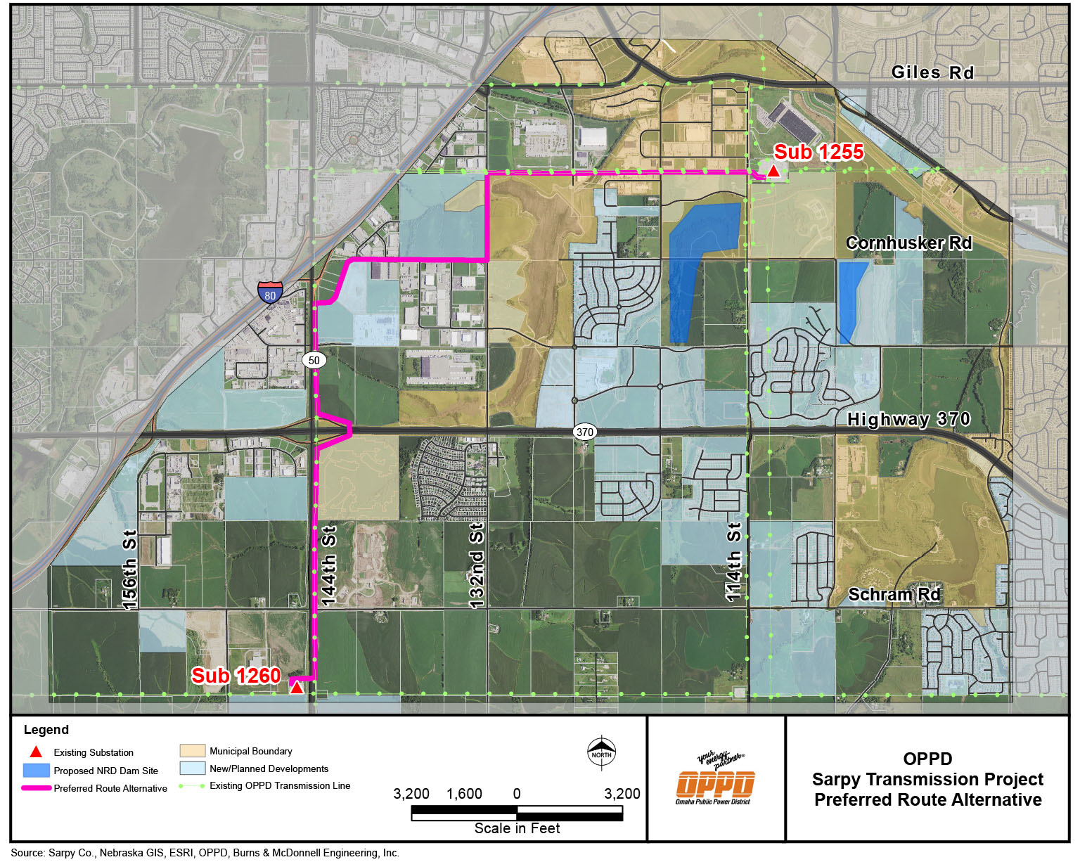Sarpy Transmission Project on smud map, ipl map, epe map, jea map, wapa map, lockheed martin map,